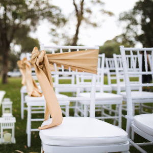 Americana Chair with Gold Sash Bow