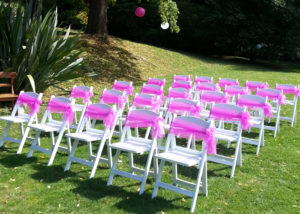 Garden Wedding Americana Chairs with Pink Sash Bows